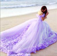 çiçekli quinceanera elbiseleri toptan satış-Gökyüzü Mavi Quinceanera Elbiseler Bebek Abiye Kapalı Omuz Korse El Yapımı Çiçek Düğün Kıyafeti Ile Sıcak Satış Tatlı Gelinlik Modelleri