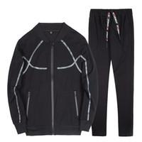бейсбольный костюм оптовых-Plegie Mens Tracksuit Sets Male Zipper Pleated Sweatshirt Men Tracksuit Hoodie 2019 Spring Men  Baseball Jackets Sweatpants