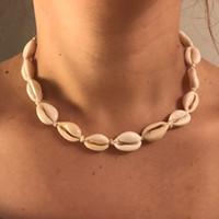 collar de oro de 14mm. al por mayor-Boho Sea Shell Gargantilla Collar Mujeres Natural Shell Joyería Chocker Simple Neckless para Niñas Regalo de la joyería