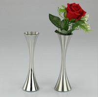 Wholesale flower vases resale online - European Single Round Port Flower Vases Fashion Stainless Steel Vase Home Decor Ornaments Accessories for Living Room MMA1246