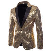 chaquetas para hombre al por mayor-Lentejuelas de oro Esmoquin Blazer Hombres Etapa Disco Discoteca Blazers para hombre Traje Chaqueta Slim Fit Un botón Brillante Brillo Blazer Masculino