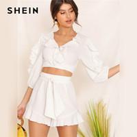 trimmbänder großhandel-SHEIN White Lace Trim Crop Top und Ruffle Trim Belted Shorts Set Frauen Sommer Halbarm Boho Cute Solid Zweiteiler