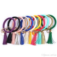 pulseiras chaveiro venda por atacado-Pulseira de couro Chaveiro de PU Wrist Chaveiro de borla pendente Pulseiras Sports Keychain pulseiras Rodada Anéis Party Favor DHL