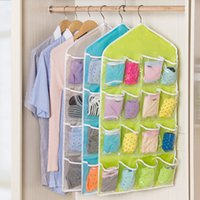 Wholesale wall hanging fabric pocket organizer resale online - 16 Pockets Hanging Bag fold Clear Over Door Shoes Rack Hanger Storage Tidy Organizer Home tranaparent closet storage pouch cm FFA1930