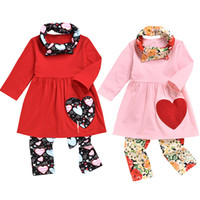 Wholesale red scarves hearts for sale - Group buy Valentine s Day Girls Chothing Set Long Sleeve Dress Top Love Heart Printed Pants Lovely scarf set Kids Boutique Outfits M982