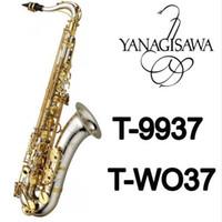 son de saxophone achat en gros de-YANAGISAWA T-9937 T-WO37 Instruments de Musique Saxophone Ténor Sib Ton Argent Tube Or Clé Sax Avec Étui Embouchure Gants livraison gratuite