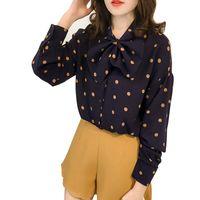 блузы большие луки оптовых-Женская новая повседневная рубашка с длинными рукавами Sweet Big Bow Рубашка в горошек Осень Дикий шифоновая рубашка