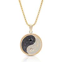 tai chi yin yang anhänger halskette großhandel-2019 neue Chinesische Art Yin Yang Tai Chi Anhänger Halskette Kupfer Zirkon Schmuck Gold Silber Farbe Neutral Hochwertige Halskette