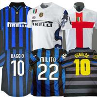 futbol formaları 99 toptan satış-Final 2009 2010 MILITO Sneijder J.ZANETTI Retro Futbol forması Simeone Futbol MILAN 1997 1998 98 99 Djorkaeff Baggio RONALDO Inter 97