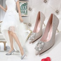 wedding shoes western style 도매-잘 생긴 2019 스타일 서양 여자 라인 석 고급 신부 결혼 들러리 신발 웨딩 신발