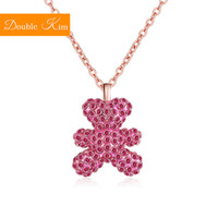 Wholesale titanium bear jewelry resale online - Little Bear Zircon Pendant Necklace Titanium Stainless Steel Inlaid Black Zircon Rose Gold Chain Necklace Trendy Women Jewelry
