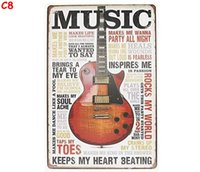 Wholesale art painting guitar for sale - Group buy Music Inspires Me Guitar Inspiration Tin Sign Vintage TIN SIGN Wall Metal Painting ART Bar Man Cave Pub Coffee Restaurant Home Decoration