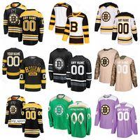 camisolas dias venda por atacado-Boston Bruins Patriota de gelo Patrice Bergeron Jérsei Zdeno Chara Brad Marchand David Pastrnak David Backes David Krejci Camo Dia dos Veteranos