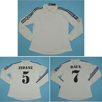 Wholesale Top Real Madrid Centenary long sleeve Retro Jerseys ZIDANE Soccer Jersey FIGO classical RONALDO Football Shirt RAUL maillot de foot