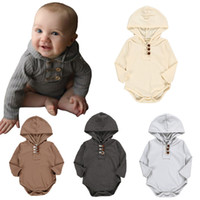 Wholesale halloween clothing for babies resale online - Newborn Hooded Jumpsuits Soft Stripe Cotton rompers Solid Color Thread Long Sleeve Hooded Triangle Rompers for Baby Clothes M874