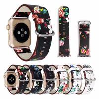 çiçek çiçeği izle toptan satış-Çiçek Baskılı Deri Kayış iwatch için kemer 42mm / 38mm Apple için Retro Çiçek Tasarım Watchband Bilezik Izle 4/3/2/1 band
