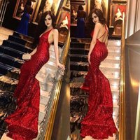 Wholesale apple red cross for sale - Group buy Full Sequins Prom Dresses Sexy Deep V Neck Crisscross Back Mermaid Prom Gowns Long Train Evening Party Dress BA9043