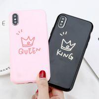 krone telefon abdeckungen großhandel-Luxus glänzende krone telefon case nettes paar brief könig königin zurück weiche silikon stoßfest tpu abdeckung für iphone x xr xs max 8 7 6 plus