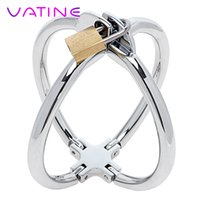 Wholesale sm toys handcuff resale online - Vatine Stainless Steel Cross Wrist Handcuffs Sm Bondage Adult Games Lockable Fetish Restraint Sex Toys For Women Adult Products Y190716