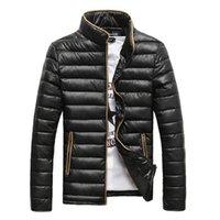 veste d'hiver de mode asiatique achat en gros de-Automne Hiver Hommes Manteau 2019 Nouveau Design Hommes De La Mode Parka Manteau Col Montant Veste Chaude 4 Couleurs Unies Taille Asiatique
