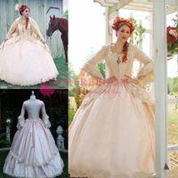 vestidos de jardin victoriano al por mayor-2019 Pink Gothic Wedding Ball Dress Vintage 1920s Style Victorian Chic Vestidos de novia De manga larga con vestidos de novia de jardín con capucha personalizados