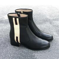 mejores botas negras al por mayor-Botines de cuero de lujo para mujer de diseño negro bonny cinchas de cuero recortado botines de invierno zapatos de invierno mejor calidad con caja