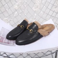 Wholesale fur shoes rabbit women for sale - Group buy Princetown slippers woman genuine leather flat base slipper lady Rabbit hair mules shoes Warm slippers at home Lazy Fur Slippers man unisex