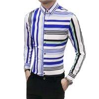 männer s gestreiften smoking großhandel-Shirts Sozial Mens Slim Fit Multicolor Striped Druck-T-Shirts Chemise Homme Herren Camicia Uomo Männer Tuxedo Camisa