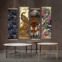 Wholesale modern classic oil abstract for sale - Group buy 4 Panel Home Decor Wall Art Classic Abstract Animals Print Canvas Painting Solid Wood Hanging Scrolls Modern Bedroom Poster Nordic Style