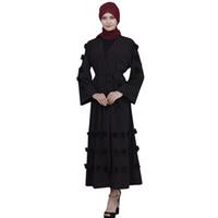 amarillo abaya al por mayor-Vestido musulmán Mujeres Abaya Dubai Blanco Amarillo Verde Negro Rojo Azul Azul túnica larga túnica Kimono Jubah Kaftan Hijab ropa islámica # M6Y