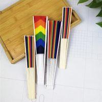 Wholesale graduation party props for sale - Group buy New Rainbow LED handheld folding fan retro style rainbow fan birthday graduation party holiday props T3I5669
