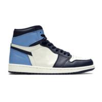 zapatos de cuero para hombre al por mayor-Obsidian 1 black blue toe high 1s TOP Factory Version 1 Zapatillas de baloncesto Zapatillas de deporte de cuero genuino de alta calidad Nuevas zapatillas 2019