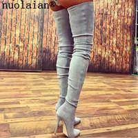botas altas de tacón alto de cuero al por mayor-Nuevo muslo Botas altas para mujer 10.5 CM Zapatos de invierno de tacón alto Botas sobre la rodilla de cuero de mujer Botas Punk de señora Zapatos de vestir negros
