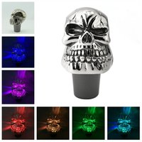 Wholesale skull head lamps for sale - Group buy Colorful lamp baffle transparent resin baffle head personality LED induction luminous crystal touch Skull Gear Shift Knob Lever