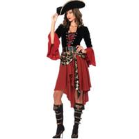 trajes de pirata xxl al por mayor-Las mujeres hallwoeen pirata Traje atractivo caliente del vestido del diseñador del tema del partido de Cosplay del tema de ropa al por mayor de manga larga Polyeter