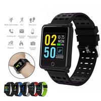 wristband do esporte do silicone dos homens venda por atacado-Relógio inteligente para homens mulheres tela colorida esporte rastreador de fitness com monitor de pressão arterial de freqüência cardíaca ip67 pulseira à prova d 'água