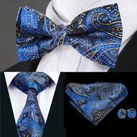 lacivert kravat toptan satış-Hi-Tie Lüks Erkek Kravat Lacivert Paisley Dokuma İpek Papyon Mendil Kol Düğmeleri Ile Mens Gelinlik Moda Suit LH-0724 D-1477