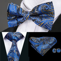combina laços venda por atacado-Hi-Tie Luxury Mens Tie Navy Blue Paisley Woven Silk Bow Tie With Handkerchief Cufflinks For Mens Wedding Dress Fashion Suit LH-0724 D-1477