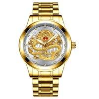 relojes de marca tevise al por mayor-Oro Hombres TEVISE superior de la marca de lujo del reloj mecánico 3D CNC La vida a prueba de agua la cara del dragón sólida llena Dropshipping reloj de los relojes