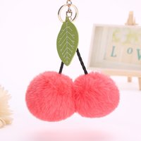 Wholesale toys record voices resale online - Fur Ball Pompom Cherry Keychain Fluffy Pompon Key Chain Ring Holder Women Pendant Pom Pom Toy Keyring Bag Charms Car Trinket