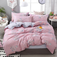 Wholesale girl pink queen duvet cover resale online - Floral Bedding Set For Girls Country Style Fresh Pink Duvet Cover Queen King Full Twin Single Soft Bed Cover with Pillowcase