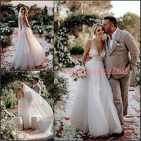 Wholesale custom made wedding dress silver resale online - Trendy Deep V Neck Spring Lace Wedding Dresses Outdoor Garden Sheer Tulle Plus Size Ball African Country Arabic Sexy Wedding Gowns For Bride