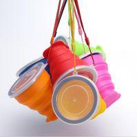 zusammenklappbare tassen zum campingplatz großhandel-Hot Silikon Teleskop Faltbare Versenkbare Faltbecher Candy Outdoor Camping Reise Geschirr faltbare tasse camping weinglas großhandel