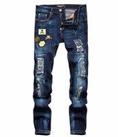 32 jeans largos al por mayor-Hombres Bordado Cráneo Jeans Hombre Skinny Slim Denim Pantalones Moda Casual Pantalones largos Pantalones