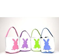 Wholesale bunny tails for sale - Group buy Easter Basket Rabbit Printed Easter Bunny Gift Bags Bunny Tail Tote Handbags Canvas linen Buckets Cartoon Storage Baskets GGA3192
