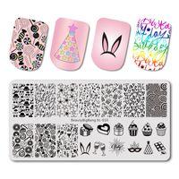 estampado de uñas xl al por mayor-BeautyBigBang 1PC Stamping For Nails 6 * 12cm Pink Party Stamping Plates Nail Art Stamp Template Placa de uñas BBB XL-010
