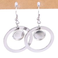Wholesale circles earrings diy for sale - Group buy stainless steel dangle earring base blanks fitting mm mm hoop circle cabochon setting bezels hyperbole personality diy ear hooks