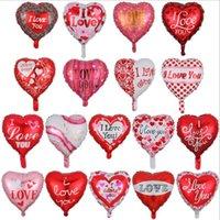 mutlu günler filmi toptan satış-Folyo Balon Sevgililer Günü Kalp şeklinde Alüminyum Film Balon 18 İnç Sana Tatil Hava Balon Parti Balonlar Dekorasyon YP113 seviyorum
