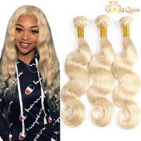 Wholesale dyed indian weave resale online - Gaga queen Brazilian Blonde Hair Weave Bundles Color Brazilian Body Wave Human Hair Extensions Bundles Blonde Hair