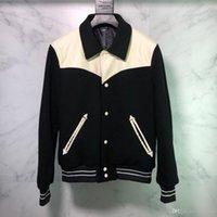 ingrosso cappotti di cuoio di lusso-19FW Luxury Leather Jacket europea Patchwork modo di alta qualità da baseball comoda giacca Coppie zdl0919 cappotto del progettista degli uomini delle donne.